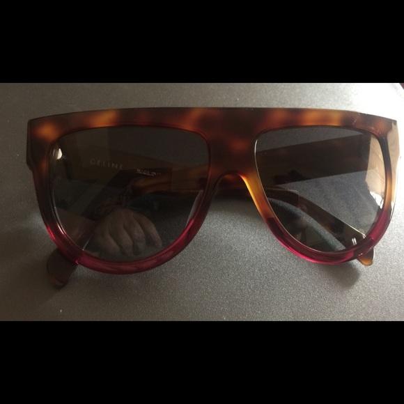 fe93c1e1ba2 Celine Accessories - CELINE Shadow FLAT TOP Sunglasses TORTOISE FUCHSIA